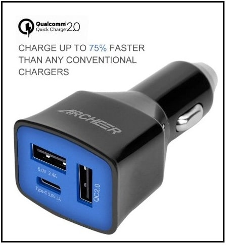 Archeer Car Charger for Apple, Samsung, and Microsoft phone