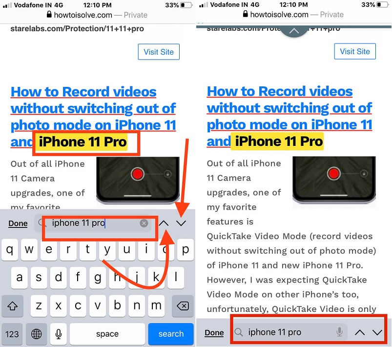 Find a text in webpage in safari on iPhone iOS 13