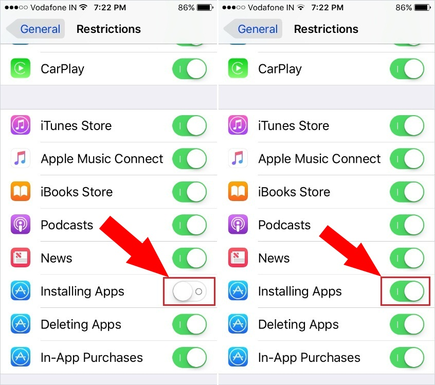 Turn Installing Apps slider ON iPhone 7 restrictions screen iOS 10