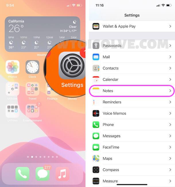 Notes app Settings on iPhone Settings app