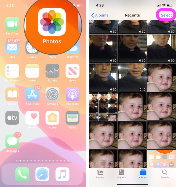 Select Photos and Videos from Photos app that you want hide