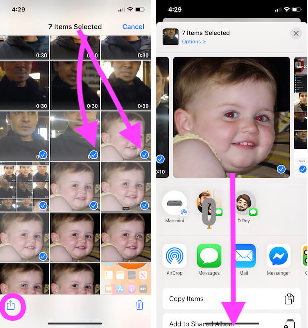 Select multiple photos and videos from iPhone photos app
