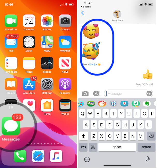 Stickers in iMessage conversation from iPhone