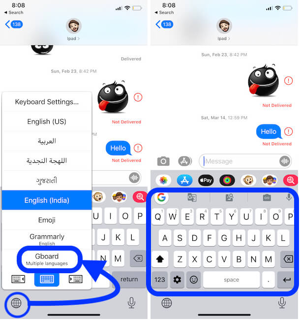 Switch to or Enable Google Gboard on iPhone from Keyboard