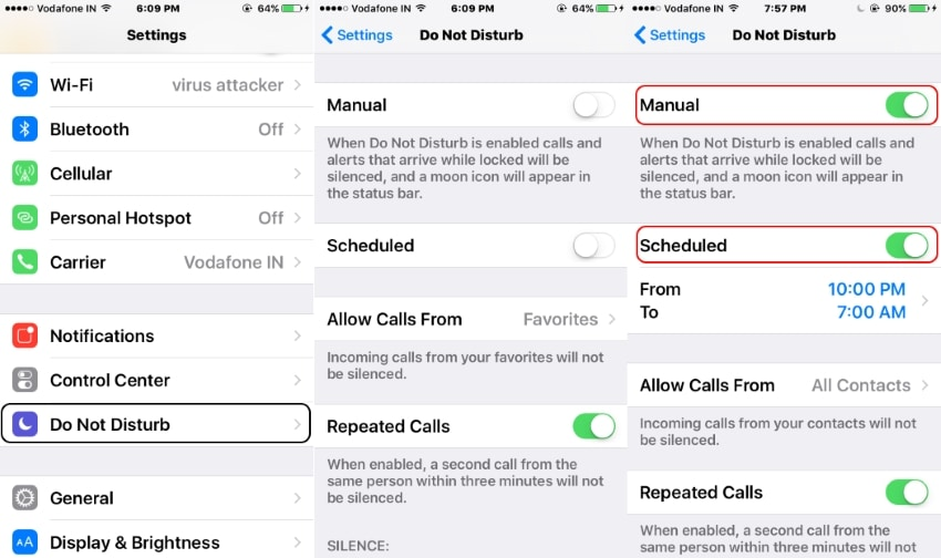 3 Enable Do not disturb from Settings or Manage