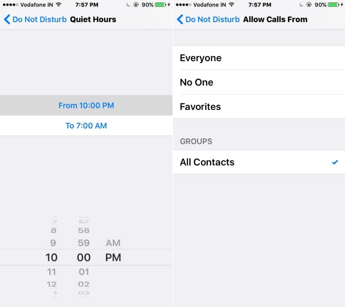 4 Set Schedule or Select contact for Enable Do not disturb