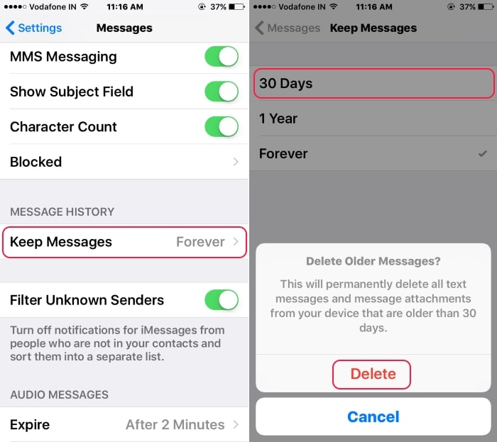 5 Auto Delete old message in iMessage iPhone and iPad