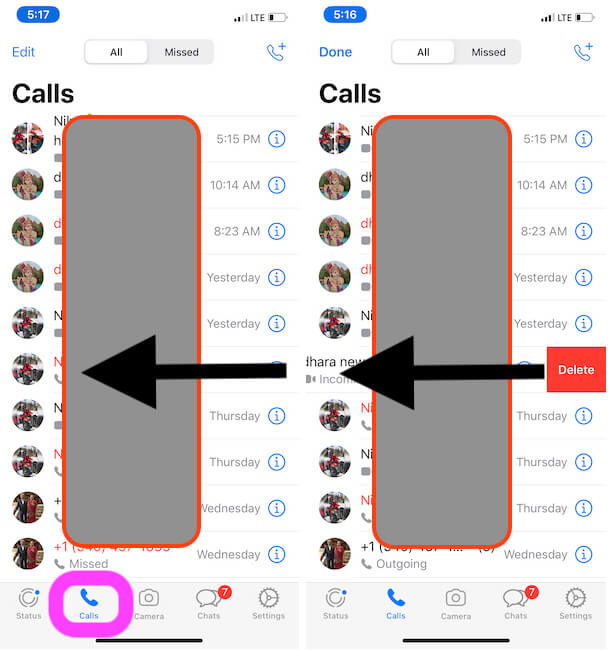 Delete a call from WhatsApp Call History on iphone