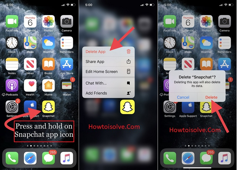Delete the Snapchat app and Re-install on Apple iphone iOS