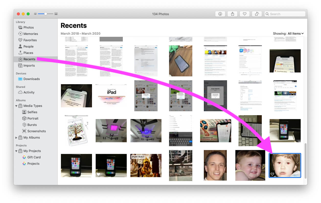 Find and Open Recently added photo under the Recents folder on MacBook Mac photos app