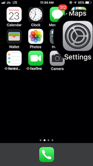 Settings app on iPhone Home button