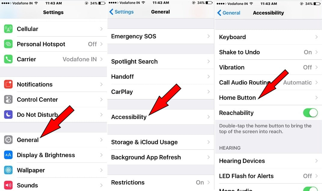 Hit on Accessibility under Settings app on iPhone iOS 10.2