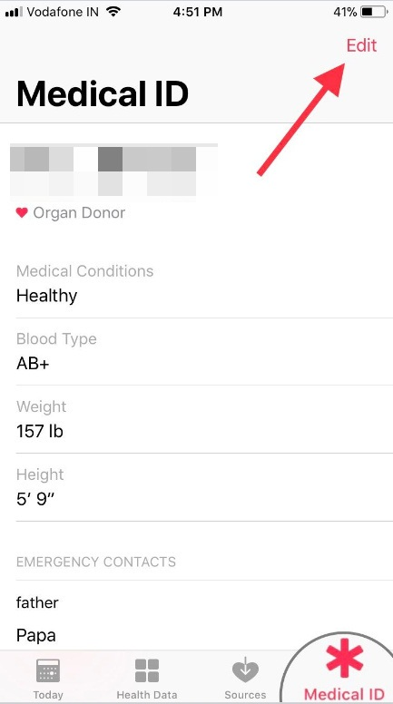 Tap on Medical ID then tap on Edit appear on right-upper side of the screen on iPhone
