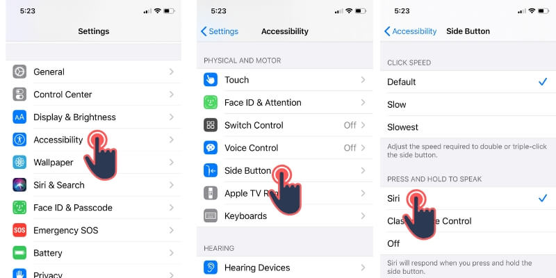Use Siri Using Side or Power button on iPhone