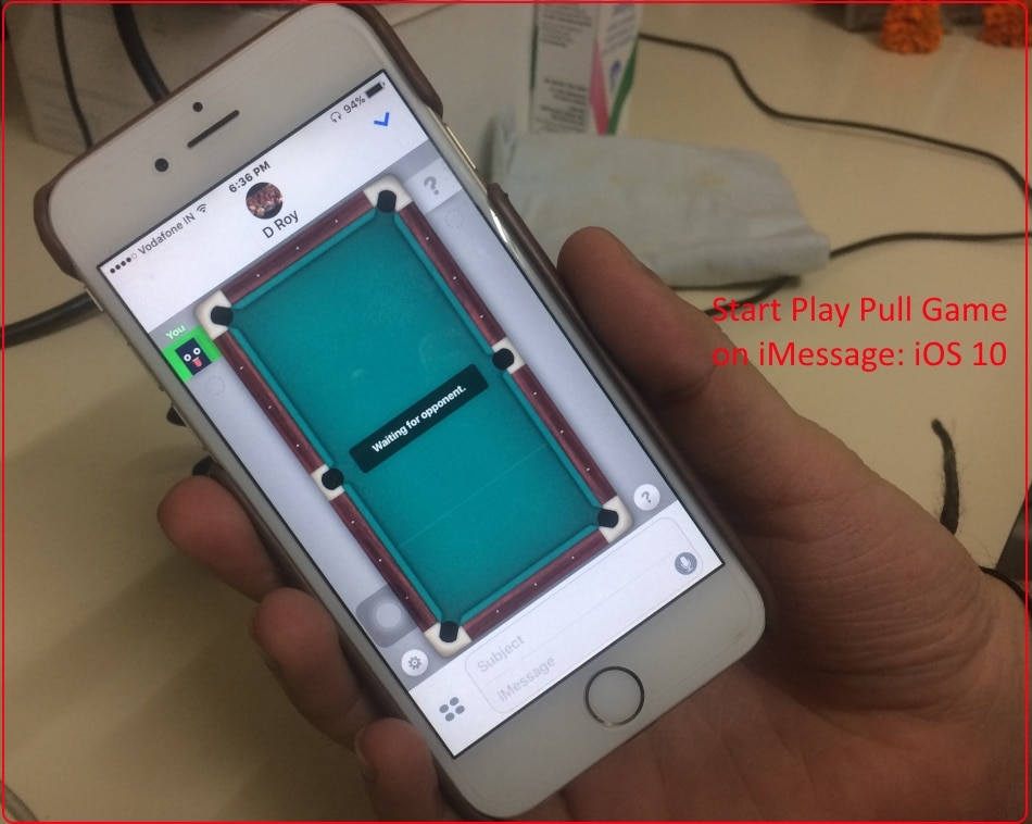1 Open and play iMessage Pool game on iPhone