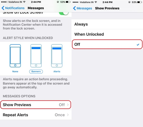 3 Disable notification preview on iPhone iPad iPod lock screen