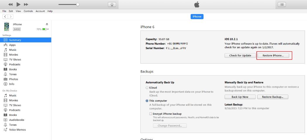 4 Start Restore process on iPhone