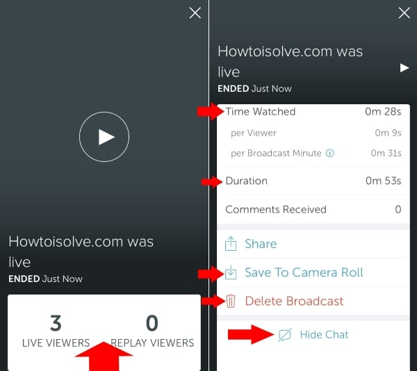 6 Find Broadcast video time viewers and Delete Broadcast