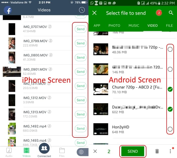 8 Send Photo from iOS to android using Xender