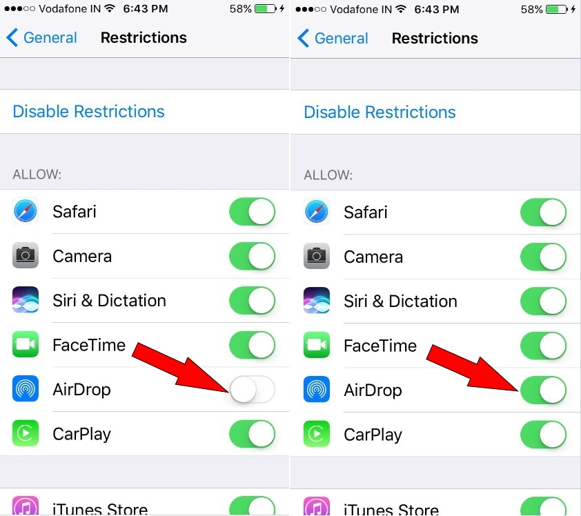 How to get back missing Airdorp on iPhone 7 or 7 Plus