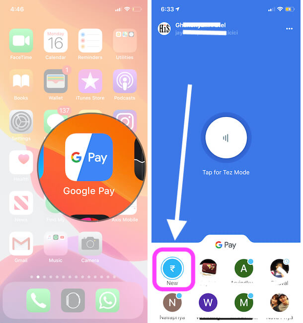 Make a Payment Using google pay on iPhone