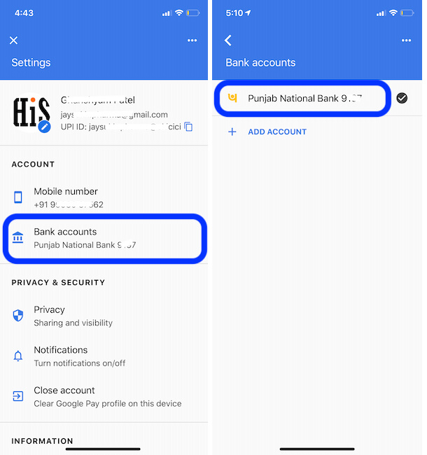 Manage Bank Accounts from Google Pay settings on iPhone