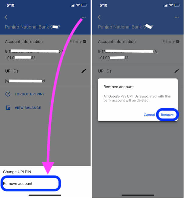 Remove Bank Account from Google pay on iPhone