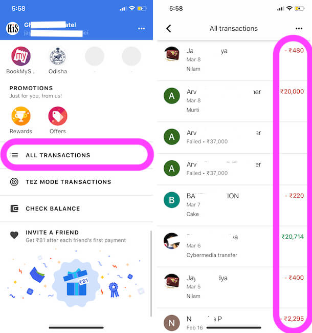 See All Transaction History on Google pay iPhone app