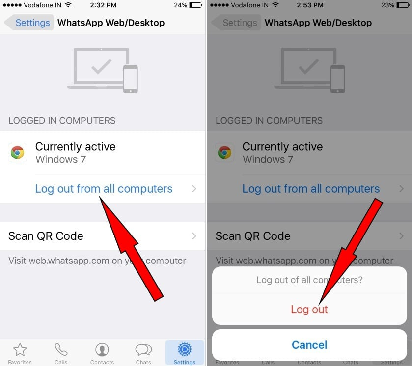Logout Whatsapp Web on iPhone 7 (Plus) and on Desktop