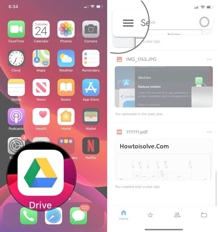 open google drive from your phone home screen and sign-in then tap more option