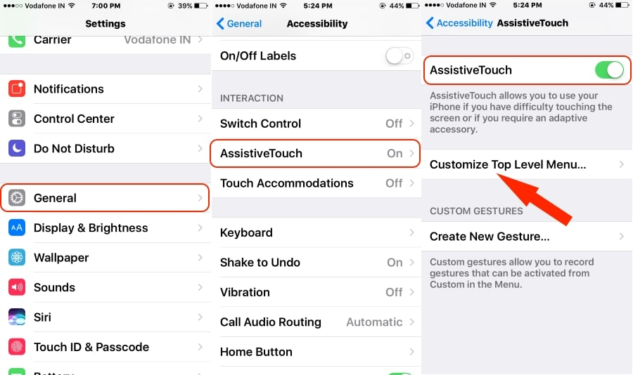 1 AssistiveTouch Settings on iPhone