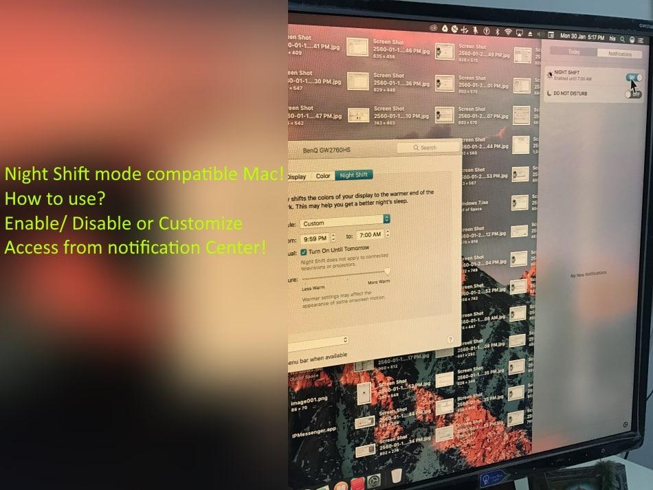 night shift mode on MacOS Sierra