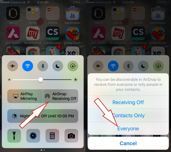 Turn on Airdrop on iPhone iPad control center
