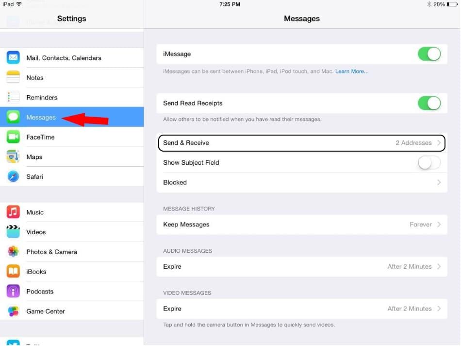 2 Change iMessage Address on iPad