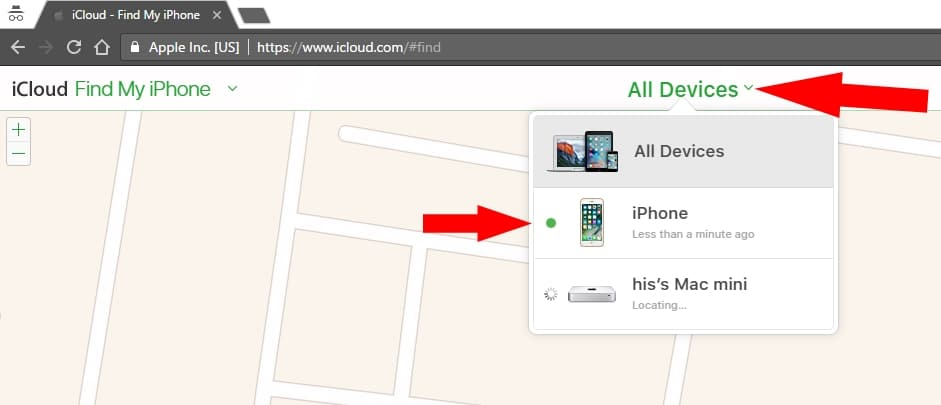Find iPhone under icloud account devices list