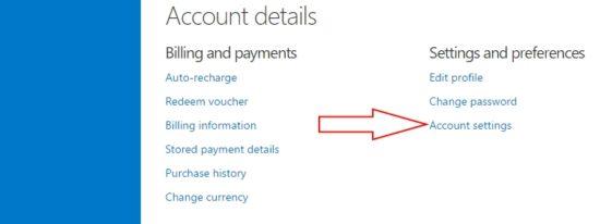 Find skype account settings