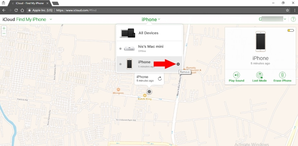 Remove iPhone from iCloud and Disable find my iPhone on restore via iCloud on Mac or PC browser