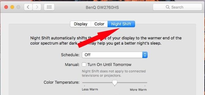 Select Night shift mode under System Preference