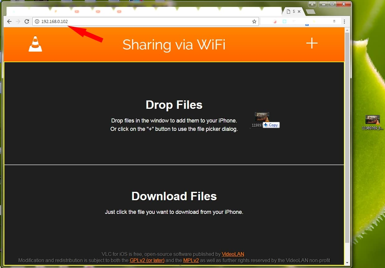 Drag All media file to VLC Web