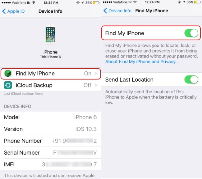 Disable FInd my iPhone on same device