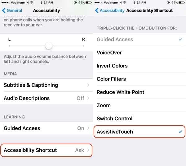 5 Tripple Touch on home button settings