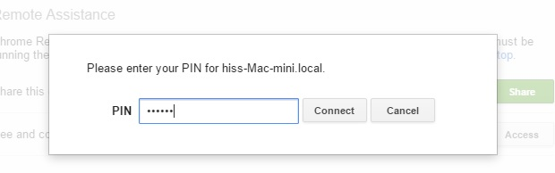 Enter Pin for access Mac used in Setup on Mac
