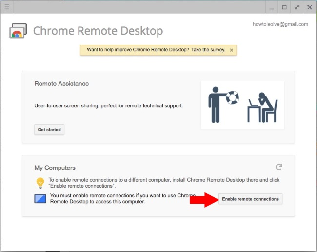 Enable Remote connection on Mac chrome browser