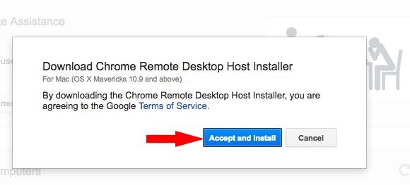 Accept and install Google chrome host installer