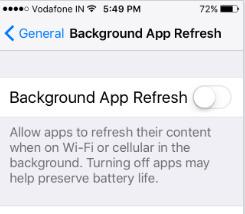 Stop Background App Refresh iOS 10