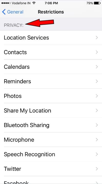 Privacy restrictions using Parental Controls on iPhone 7 Plus iOS 10