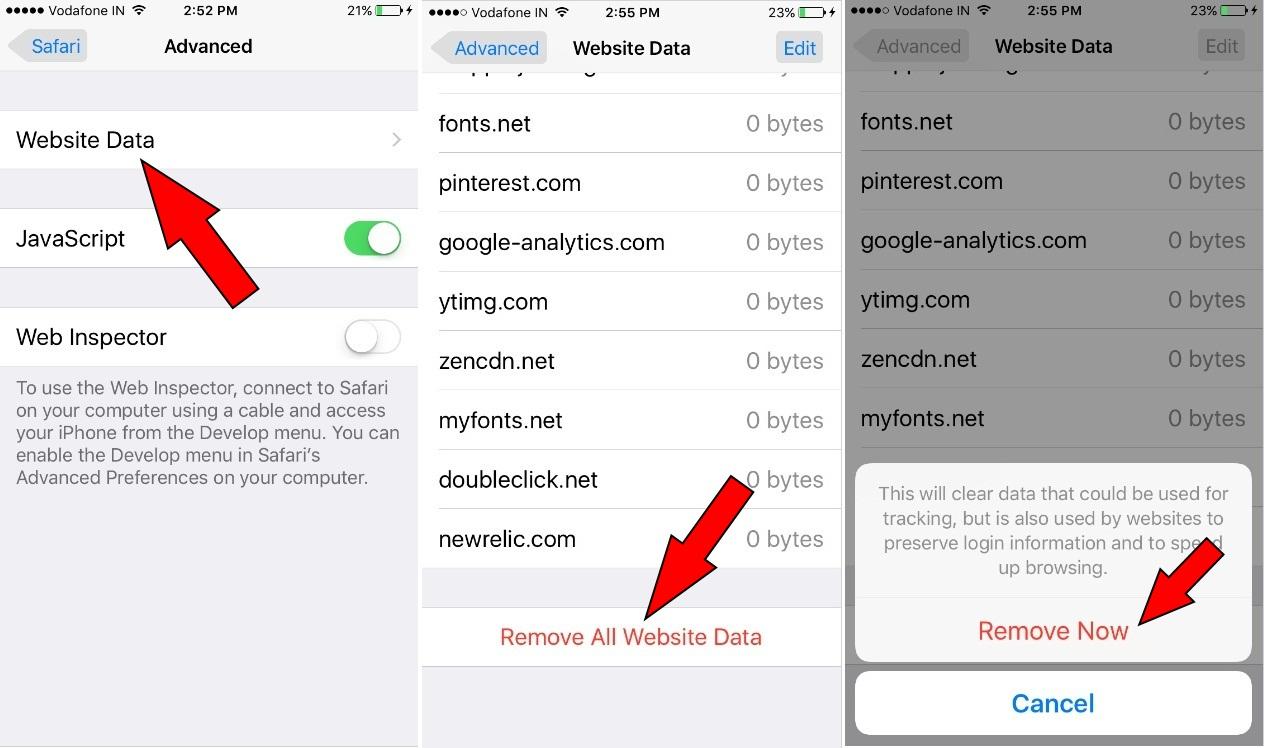 how to Remove All Website Data safari iOS 10.2