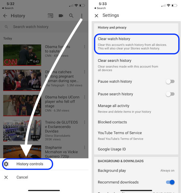 Remove All videos from Watch History on iPhone