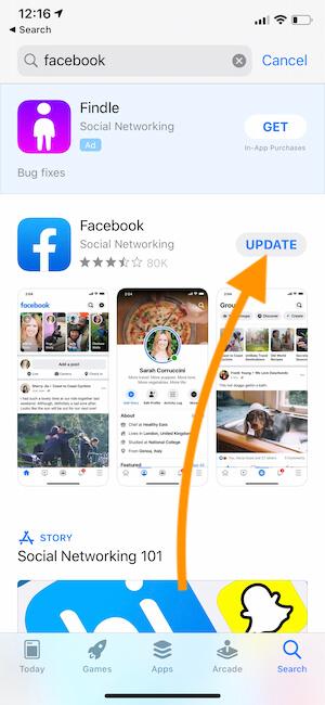 Update Facebook on iPhone