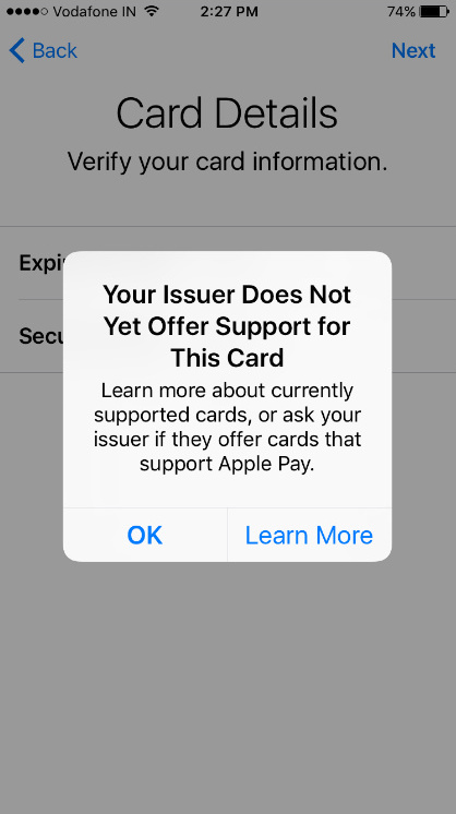 error Your issuer Does not Yet offer Support for This Card when set up Apple pay iOS 10 iPhone 7 Plus